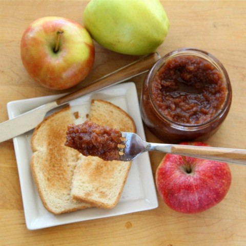 Slow Cooker Apple Butter on toast on ShockinglyDelicious.com