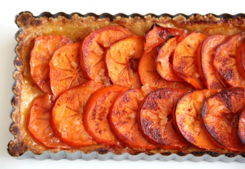 Crisp Fuyu persimmons glisten like jewels in this easy tart with a press-in crust. Great fall-winter dessert for Thanksgiving, Christmas or a special dinner.