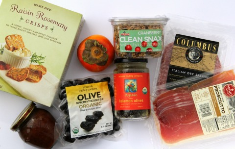 Pantry items for cheese and meat plate on ShockinglyDelicious.com