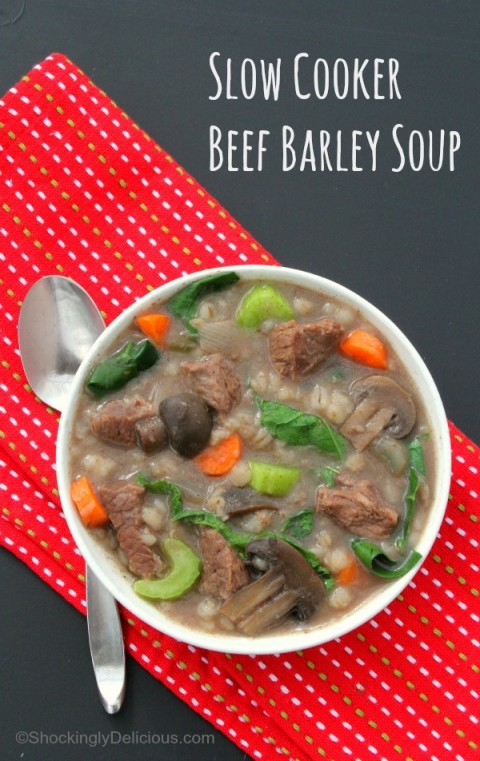 Slow Cooker Beef Barley Soup | ShockinglyDelicious.com