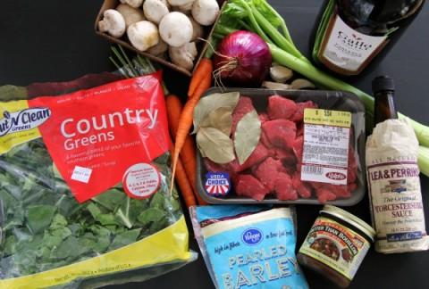 Slow Cooker Beef Barley Soup ingredients on ShockinglyDelicious.com