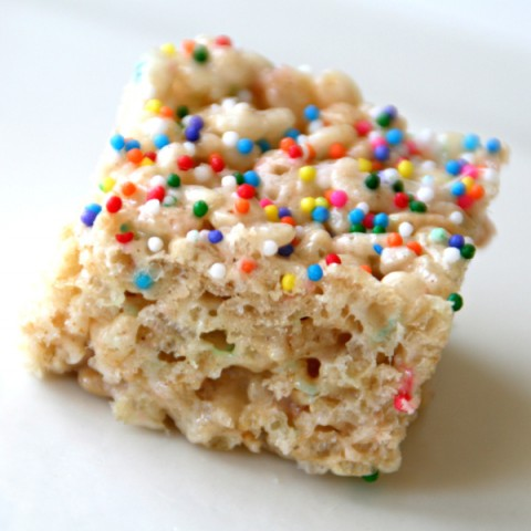 Funfetti Rice Krispies Treats | Rice Krispy Treats with Sprinkles Recipe | ShockinglyDelicious.com