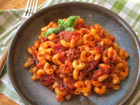 American Chop Suey | Goulash, Johnny Marzetti, Macaroni and Beef Recipe | ShockinglyDelicious.com