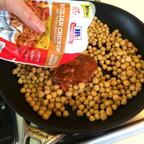 Skillet Sicilian Chickpeas Over Quinoa   Vegan Chickpea Skillet Dinner   ShockinglyDelicious.com