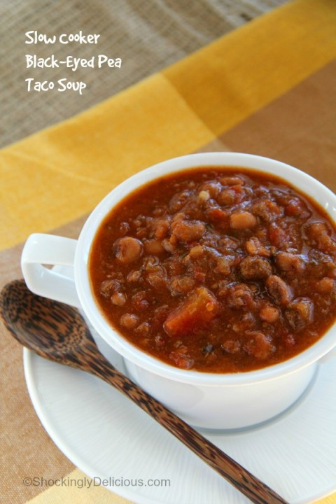 Slow Cooker Black-Eyed Pea Taco Soup | Crock-Pot Taco Soup recipe | ShockinglyDelicious.com
