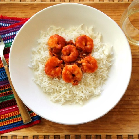 2-Ingredient Skillet Red Chile Shrimp | Weeknight Skillet Chile Shrimp Recipe | ShockinglyDelicious.com