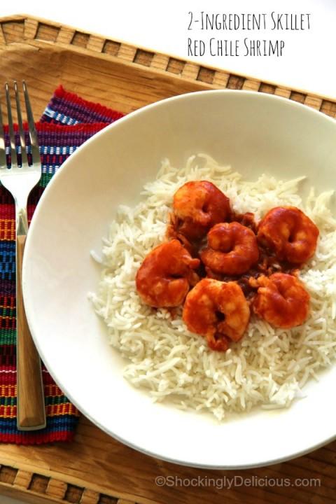 2-Ingredient Skillet Red Chile Shrimp on ShockinglyDelicious.com