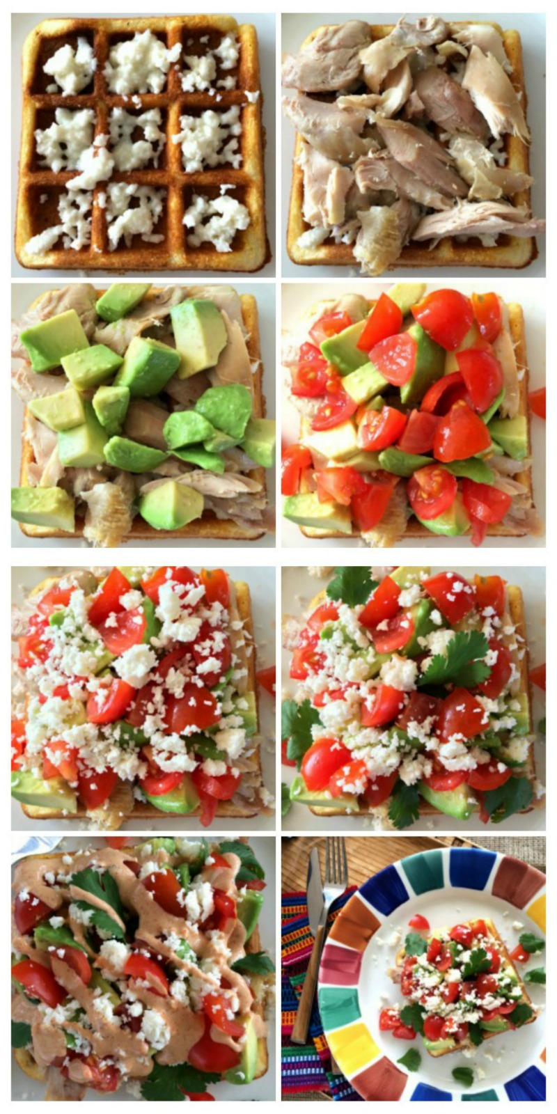 Assembling Cornbread Waffles with Chicken, Avocado and Sweet and Spicy Crema