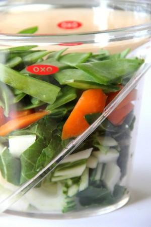 Chopped Asian vegetables for Sesame Pork Stir-Fry Bowl on ShockinglyDelicious.com