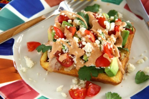 Cornbread Waffle with Chicken and Avocado and Spicy Sweet Crema on ShockinglyDelicious.com