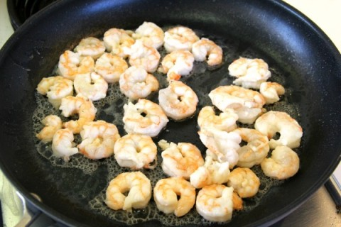 Shrimp turns pink when cooked for Red Chile Shrimp on ShockinglyDelicious.com