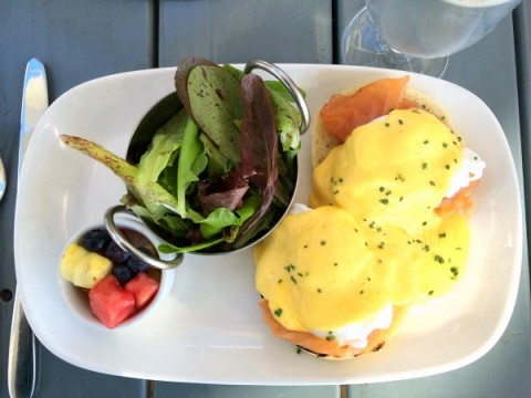 Smoked Salmon Benedict at Malibu Pier Restaurant on ShockinglyDelicious.com