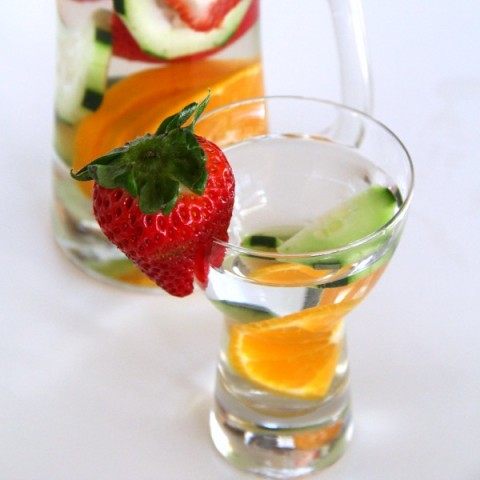 Spa Water for a baby shower | Fruit and Cucumber-Infused Water | ShockinglyDelicious.com