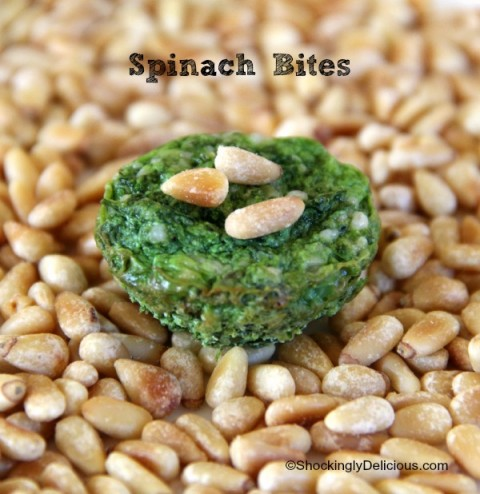 Spinach Bites | Spinach Parmesan Pine Nut Appetizer Recipe | ShockinglyDelicious.com
