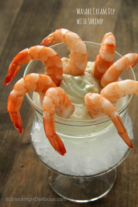 Wasabi Cream Dip with Shrimp | Wasabi Yogurt Dip Recipe | ShockinglyDelicious.com