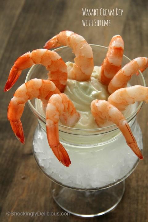 Wasabi Cream Dip with Shrimp   Wasabi Yogurt Dip Recipe   ShockinglyDelicious.com