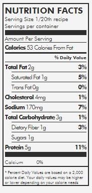 Frittata Bites nutrition box