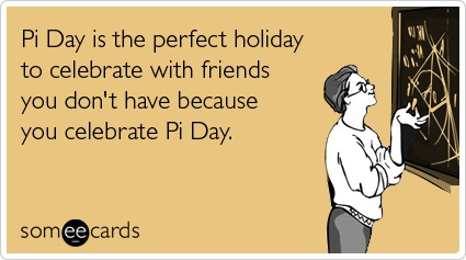 Pi Day ecard math circle of friends