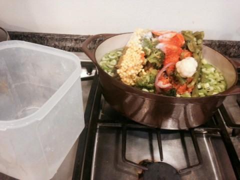 Saving leftover vegetables in the freezer on ShockinglyDelicious.com