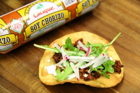 Tostadas with Chorizo Cotija and Crema Agria at Cacique