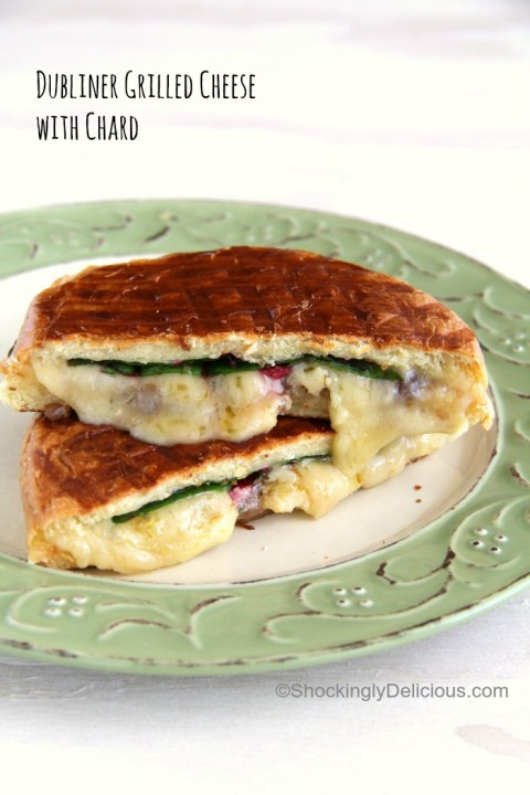 Dubliner Grilled Cheese with Chard for #GrilledCheese month on ShockinglyDelicious.com