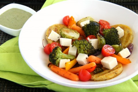 Panela Polenta Vegetable Bowl | Healthy polenta vegetable dinner recipe | ShockinglyDelicious.com