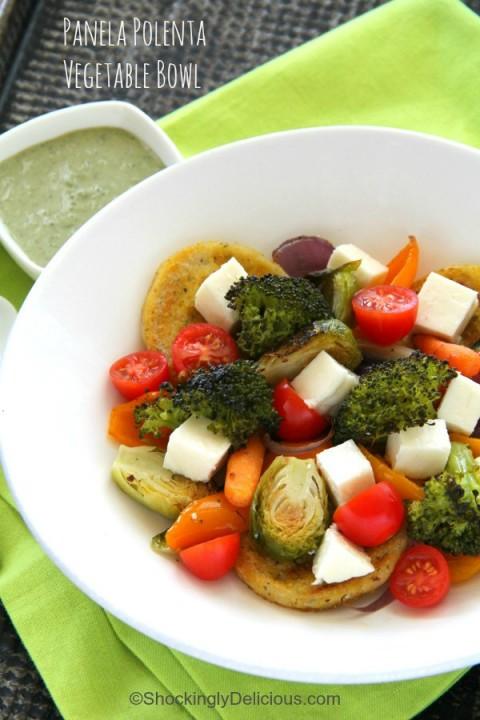 Panela Polenta Vegetable Bowl recipe on ShockinglyDelicious.com