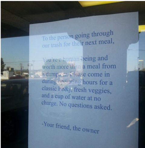Restaurant owner left a touching note when she discovered someone digging in her trash