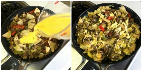 Adding eggs to the Beef Migas on ShockinglyDelicious.com