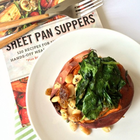 Baked Sweet Potatoes with Cannellinis and Baby Spinach from Sheet Pan Suppers cookbook on ShockinglyDelicious.com
