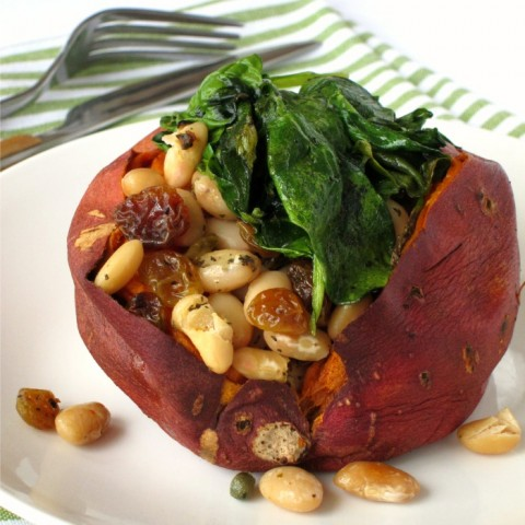 Baked Sweet Potatoes with Cannellinis and Baby Spinach on ShockinglyDelicious.com