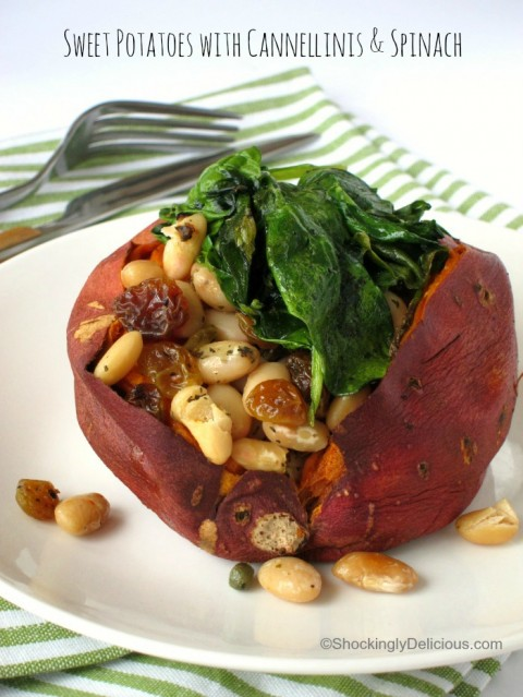 Baked Sweet Potatoes With Cannellinis And Baby Spinach Shockingly Delicious
