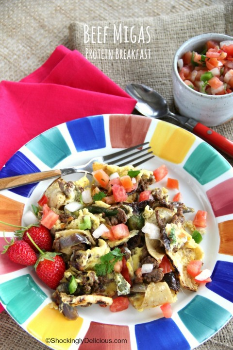 Beef Migas Protein Breakfast recipe on ShockinglyDelicious.com