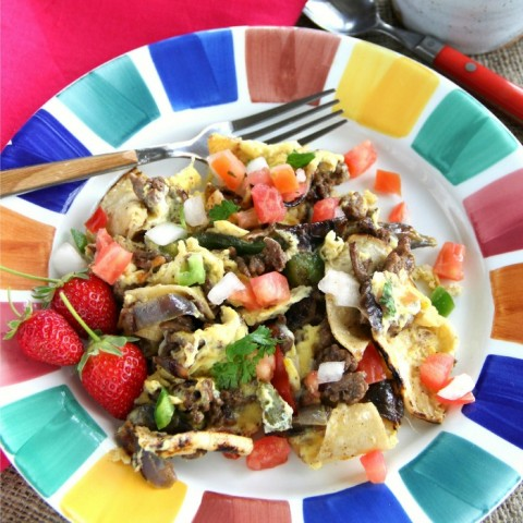 Beef Migas | Protein breakfast recipe on ShockinglyDelicious.com