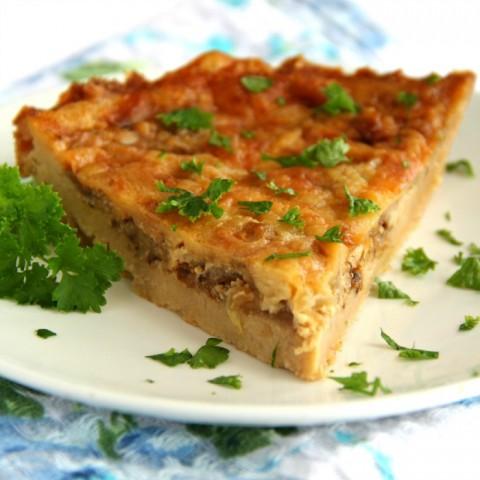 Cheddar and Onion Cracker Pie recipe on ShockinglyDelicious.com