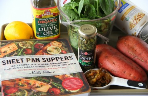Ingredients for Baked Sweet Potatoes with Cannellinis and Baby Spinach on ShockinglyDelicious.com