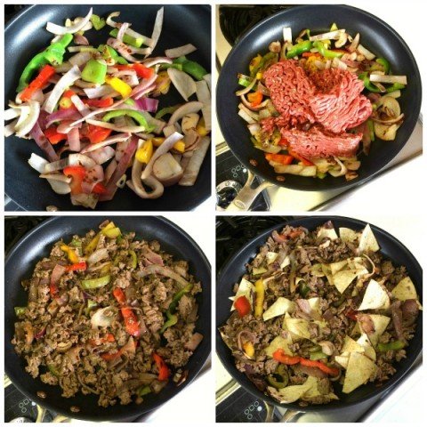 Preparing fajitas and beef for Beef Migas on ShockinglyDelicious.com