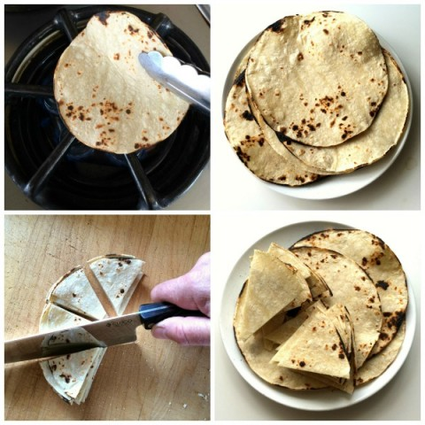 Preparing the tortillas for Beef Migas on ShockinglyDelicious.com