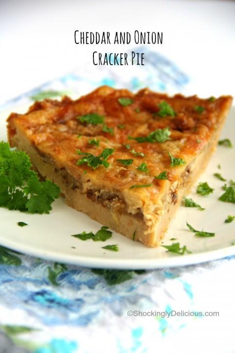 Savory Cheddar and Onion Cracker Pie recipe on ShockinglyDelicious.com