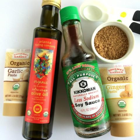 Marinade ingredients for Garlic Ginger Soy Grilled Beef Steak on ShockinglyDelicious.com