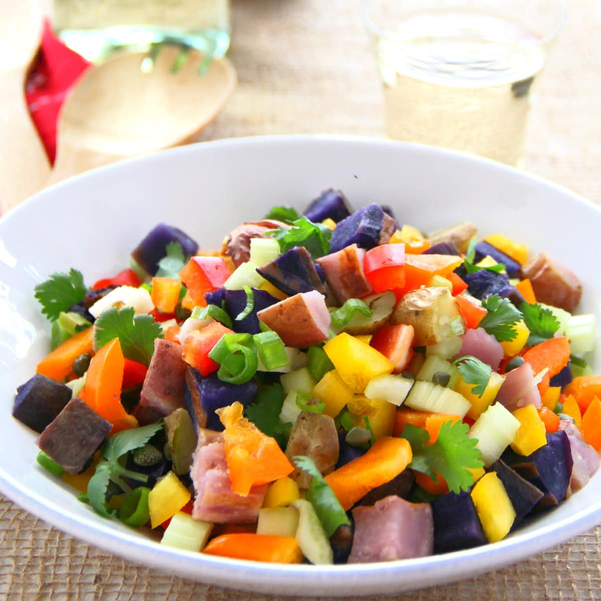 Grilled Rainbow Potato Salad | Easy Potato Salad recipe stuffed with colorful vegetables (vegan) | ShockinglyDelicious.com