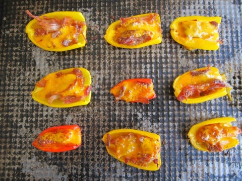 Out of the oven Low-Carb Pulled Pork Peppers on ShockinglyDelicious.com