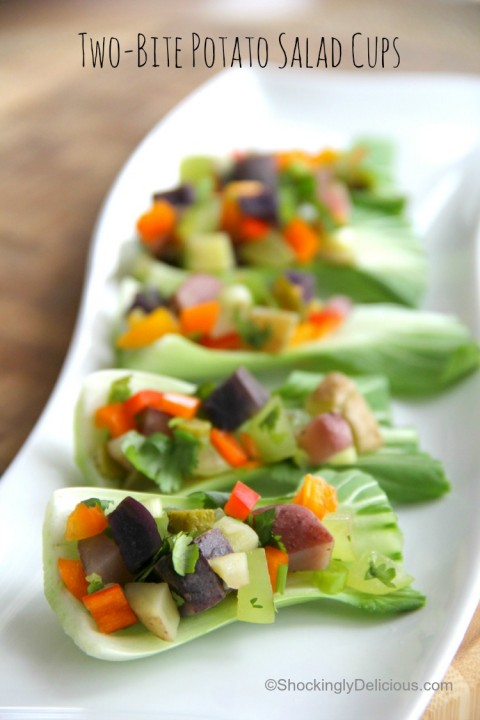 Two-Bite Potato Salad Cups   Potato Salad appetizer recipe  ShockinglyDelicious.com