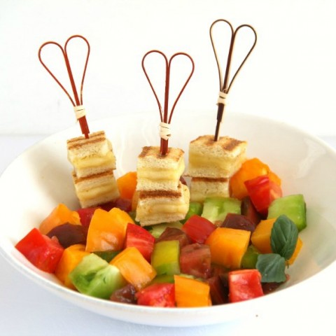 Heirloom Tomato Salad with Grilled Cheese Croutons | Summer's perfect tomato salad recipe | ShockinglyDelicious.com