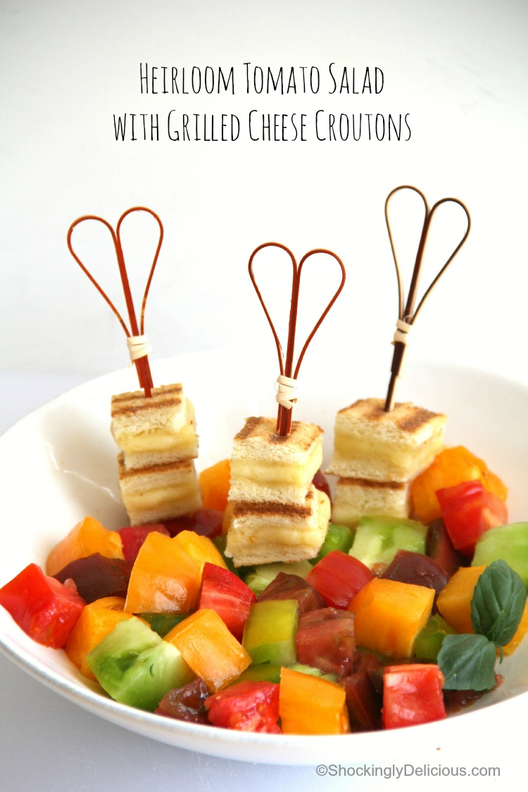 Heirloom Tomato Salad with Grilled Cheese Croutons   Summer's perfect tomato salad recipe   ShockinglyDelicious.com
