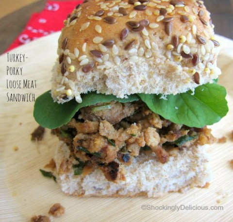 Turkey-Porky Loose Meat Sandwiches | Ground turkey and pulled pork combine in a loose meat sandwich recipe| ShockinglyDelicious.com