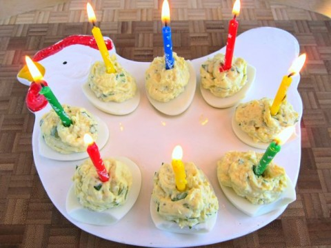 2-ingredient deviled eggs for a birthday on ShockinglyDelicious.com