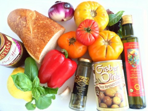 Ingredients for Tuscan Panzanella Salad on ShockinglyDelicious.com