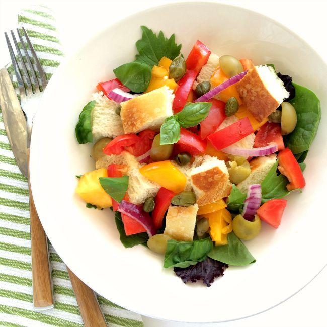 Tuscan Panzanella Salad easy summer recipe on ShockinglyDelicious.com
