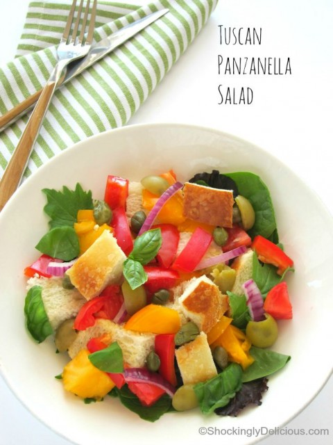 Tuscan Panzanella Salad in a white bowl on ShockinglyDelicious.com